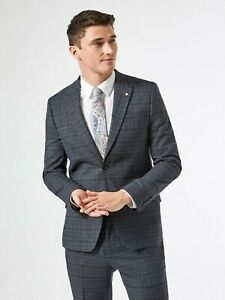 BURTON MENSWEAR LONDON Mens Grey Russet Prince of Wales Check Slim Suit Jacket