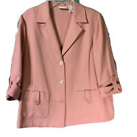 Women's Alfred Dunner Blazer Size 16 Dusty Rose 3/4 Sleeves Vintage Jacket