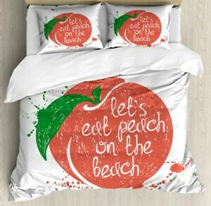 Peach Tones Duvet Cover Set Twin Queen King Sizes with Pillow Shams Ambesonne