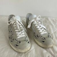 Adidas Women's Gazelle Cutout Off White Grey Lace-up Sneakers BB5179 Size 8
