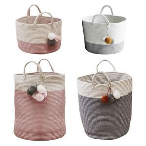 Woven Knitted Basket Hamper Bin Kids Toy Storage Bucket Grey/Pink with Handles