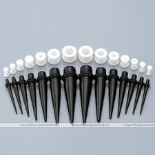 28x Black Acrylic Taper White Silicone Ear Gauges Tunnel Plug Stretching Kit Set