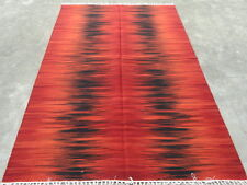 5'x8' Red Black Dhurrie India Wool Rectangle Transitional Area Rug