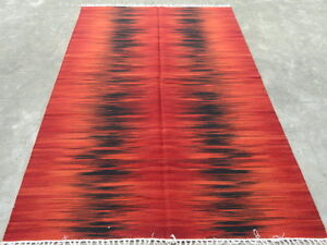 Red Black Dhurrie India Wool Rectangle Transitional Area Rug Carpet 5x8