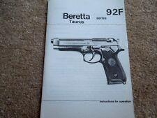 Italian Beretta Or Taurus  92F Series  9mm Pistol Operation Manual 14  pages
