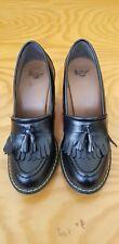Dr Martens Roma Loafer Pump Black Size 9 US Leather Heels Tassel Block Fringe