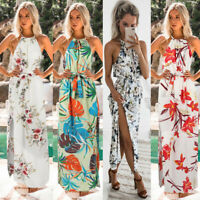 Women Boho Floral Belted Long Maxi Dress Halter Sleeveless Party Beach Sundress