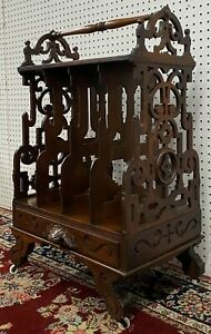 Antique American Canterbury Carved Walnut Music Stand Table Original Finish 1850