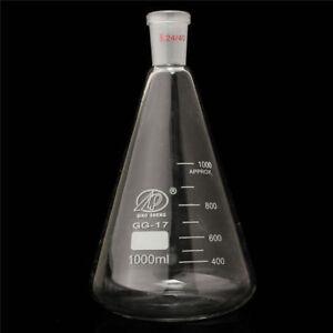 1000ml 24 / 40 Glass Erlenmeyer Flask Pro Conical Bottle Lab Chemistry Glassware