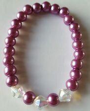 New Handmade Ladies Stretchy Purple Round Glass Pearl Acrylic Beaded Bracelet
