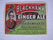Vintage Blackhawk Ginger Ale Soda Bottle Label Rock Island, Ill.