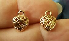 Small Gold Filigree Cutout Heart Earring Charms Gold Plated 1 Pair