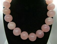 Pink Rose Quartz Statement LARGE Stone 20mm Beads Silver plated clasp 16 1/2""