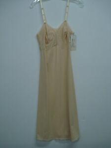"""NWT Women's USA Made Nancy King Lingerie 26"""" Full Dress Slip Size 32 Beige #42N"""