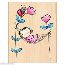 New Penny Black POSY PETALS Wood Rubber Stamp Girl Ladybug Flower Hammock Spring