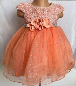 Peach Bling Glitter Crystal Flower Girl Christening Eid Formal Party Dress 0-24
