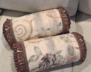 2pc Set CROSCILL Chambord Rose Cassis Roll Amethyst Toss Decorative Pillows
