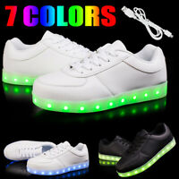 Xmas Gift Women Men 7 LED Light Up Shoes USB Charge Luminous Casual Sneakers New