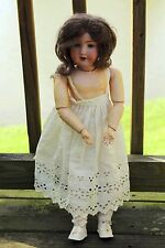 """ANTIQUE A&M GERMAN BISQUE HEAD DOLL 390 COMPOSITION BODY SLEEP EYES 20"""" TALL"""