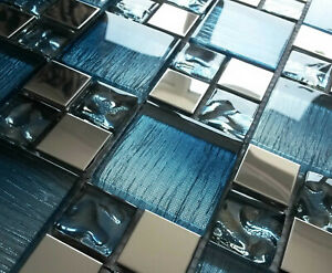 NEW BLUE IRIDESCENT FOIL GLASS SILVER CHROME METAL SQUARE MOSAIC WALL TILES 8MM