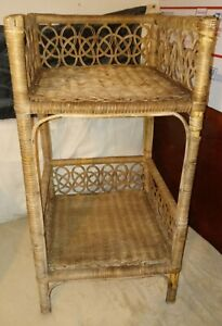 Vintage looped loops Plant Stand side table Cane Rattan Wicker Woven Boho rack