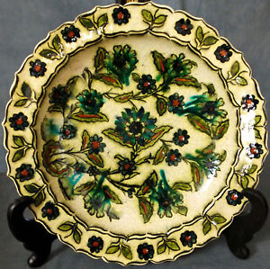 SUPERB RARE & Lg SIGNED EDMOND LACHENAL HAND PAINTED  PERSIAN WARE WALL CHARGER