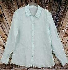 Eileen Fisher Mint Green Linen Button Front Shirt size Small Long Sleeve