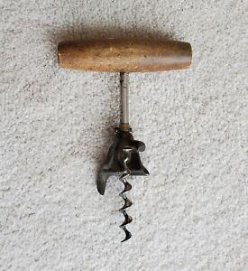 Vintage/Antique Wood Handle Cork Screw Wine Bottle Opener EXCELLENT! Ships Free