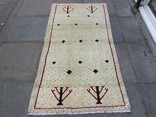 Old Traditional Hand Made Persian Oriental Wool Cream Gabbeh Long Rug 187x99cm