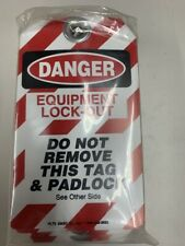 Green Attention Pk BRADY Lockout Tags Grommeted W//zip Ties 25 Laminated