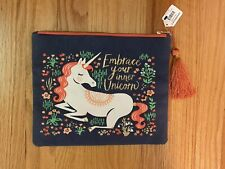 """Unicorn Zippered Cosmetic Pouch Make-Up Bag  """"Embrace Your inner Unicorn"""" NEW!"""