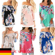 Damen 3/4 Arm Mode Shirt Casual Top Elegantes Pulli Blumen Schulterfrei Carmen