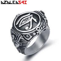 Egyptian Eye of Ra Horus Udjat Pharaoh Silver Stainless Steel Cross Ring