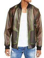 INC Mens Bomber Jacket Black Green Large L Piped Transparent Full-Zip $99 259