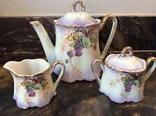 Vintage 5-Piece Handpainted BAVARIA Coffee/Tea Pot, Sugar & Creamer Set Germany