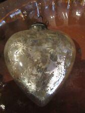ancienne boule sapin de noel verre mercurisée coeur  16 cm