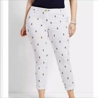 NEW $99 TALBOTS Pineapple, White Girlfriend Chino Crop,Ankle Pants Sz 14WP,14W P