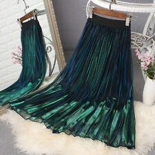 Women Lady Mesh Pleated Skirt Shiny Metallic Gradient Midi High Waist Fashion