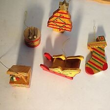 Vintage Wooden Christmas Ornaments Wood Painted Lot of 5