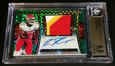 1/1 KAREEM HUNT RC AUTO BGS 9.5/10 *GREEN PRIZM ROOKIE PATCH #'D 1/5 2017 Select