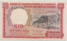 1961 Board of Commissioners of Currency Malaya. $10 A/83 133476. Large A. VF