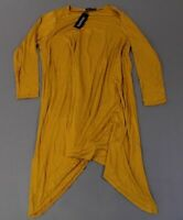 Boohoo Women's Plus Long Sleeve Hanky Hem Swing Dress CB4 Yellow US:20 UK:24 NWT