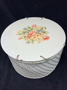 """Vintage Harvey Green Wicker Sewing Basket/Box Rose Decals  11"""" Tall"""