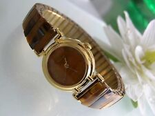 Vintage natural Tiger Eye gemstone stainless steel stretch band women's watch