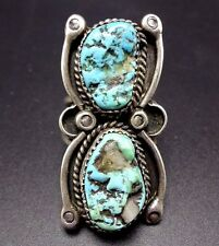 Vintage NAVAJO Sterling Silver & TURQUOISE RING, size 8.5 , Quartz Inclusions