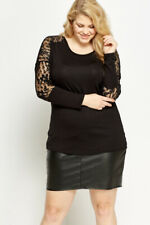 Shirt Gr.44+46+48+58//60 Tunika Top Longtop schwarz Damen Blüten Choker festlich
