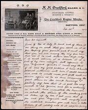 Dartford Kent 1903  British Motor Cars Engine Works A H Crockford  Letter Head