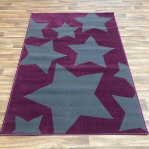 Quality star purple grey bedroom loune Rug 120cm x 170cm  (631)