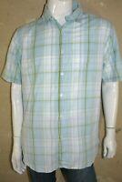 JULES  Taille XL Superbe chemise manches courtes carreaux bleu blanc chemisette