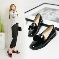 Mary Jane Womens Bowknot Sweet Cute Slip On Preppy Flats Casual Shoes Oxfords